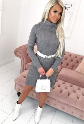 Pink Boutique Giving Me Butterflies Grey Cable Knit Longline Jumper Dress