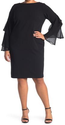 Calvin Klein Double Ruffle Chiffon Sheath Dress