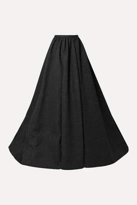 Rosie Assoulin Pleated Glittered Woven Maxi Skirt - Black