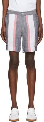 Casablanca Navy Cotton and Linen Stripe Shorts