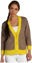 Juicy Couture Colorblock Bracelet Sleeve Cardigan/Angora Trims (Dust/Cadmium Yellow) - Apparel