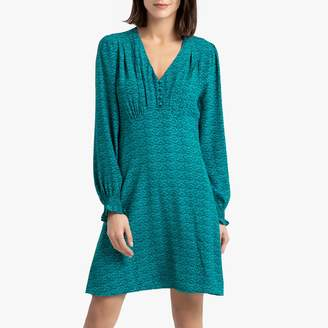 Suncoo Claudia Short Flared Dress with Long Sleeves