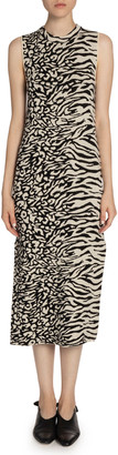 Proenza Schouler White Label Mixed Animal-Print Sleeveless Midi Dress