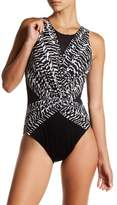 Miraclesuit Miracle Suit Surplice Print Mesh One-Piece Swimsuit