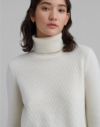 Club Monaco Mixed Stitch Cashmere Turtleneck Sweater