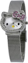 Hello Kitty #HK1491 Women's Cat Shape Case Crystal Bow Mesh Band Analog Wartch