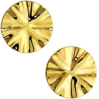 Nest 22K Goldplated Wavy Disc Stud Earrings