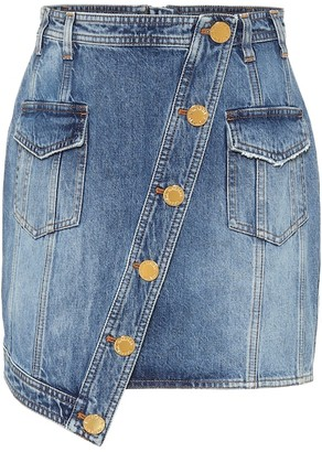 Balmain Asymmetric denim miniskirt