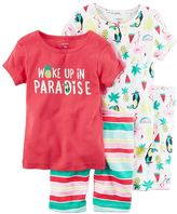 Carter's Toddler Girl 4-pc. Tee & Shorts Pajama Set