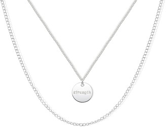 Argentovivo Sterling Silver Double Chain Strength Pendant Necklace