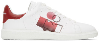 Isabel Marant White and Red Billyo Sneakers