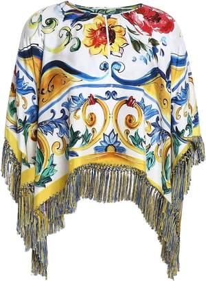 Dolce & Gabbana Fringed Printed Silk-blend Twill Blouse
