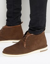 Asos Desert Boots In Brown Suede With Leather Detailing