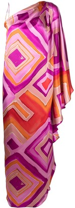 Gianluca Capannolo One-Shoulder Painterly-Print Dress