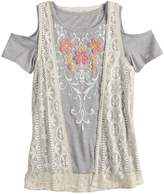 Mudd Girls 7-16 & Plus Size Cold Shoulder Graphic Print Tee & Crochet Vest Set