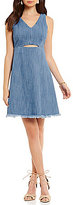 GB Cutout Chambray V-Neck Sleeveless Dress