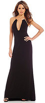 Gianni Bini Ivy Deep Bar V-Neck Sleeveless Solid Jersey Knit Gown