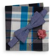 Original Penguin Lolita Bow Tie, Gingham Flower Pin, Plaid Pocket Square Gift Set