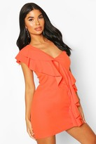 boohoo Petite One Shoulder Frill Bodycon Dress