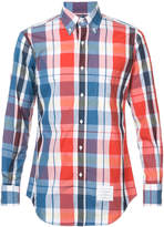 Thom Browne Long Sleeve Button Down Shirt In Large Red And Blue Check Poplin