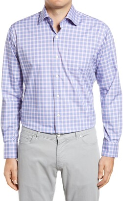 Peter Millar Crown Ease Cooper Regular Fit Stretch Check Button-Up Shirt