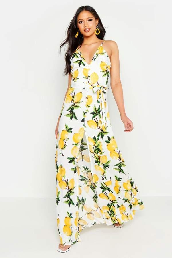 boohoo Tall Lemon Print Button Detail Maxi Dress