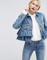 Asos Denim Crop Jacket with Ruffle Hem in Midwash Blue