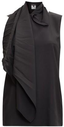 Ann Demeulemeester Scarf-neck Silk-satin Top - Black