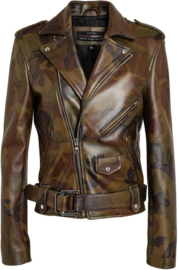 Pyer Moss Camouflage Leather Biker Jacket