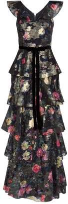 Marchesa Tiered Metallic Floral Gown