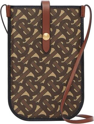 Burberry Anne Monogram Print E-Canvas & Leather Smartphone Crossbody Case