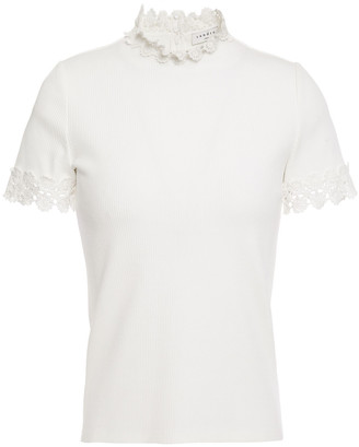 Sandro Guipure Lace-trimmed Ribbed Jersey Top