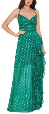 Betsy & Adam Metallic-Print Cascade-Ruffle Gown