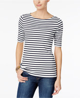 Charter Club Petite Cotton Striped Boat-Neck Top, Only at Macy's