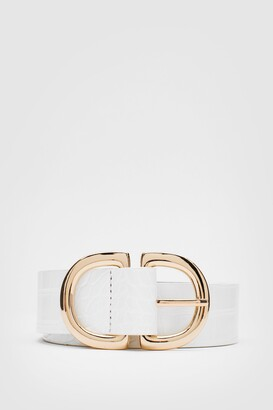 Nasty Gal Womens You Really Croc Me Going Faux Leather Buckle Belt - Black - ONE SIZE, Black