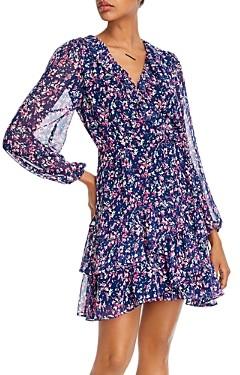 Aqua Printed Ruffled Faux-Wrap Dress - 100% Exclusive