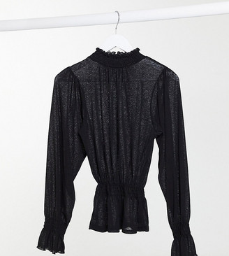 Asos Tall ASOS DESIGN Tall mesh long sleeve shirred top with high neck in black