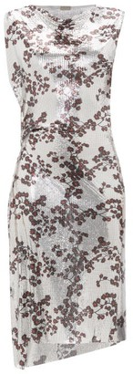 Paco Rabanne Cowl-neck Floral-print Chainmail Dress - Womens - Silver Multi