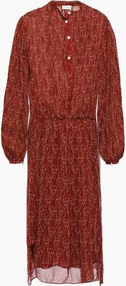 By Malene Birger Layered Printed Crepon Midi Dress