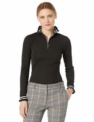 J.o.a. Women's Flare Rib Zipper Front TOP