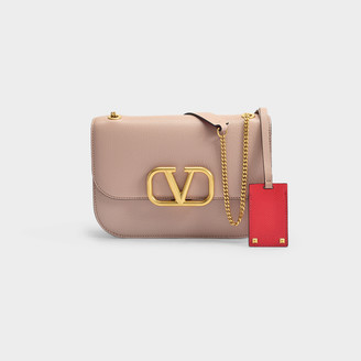 Valentino Garavani Vlock Small Chain Shoulder Bag In Cinnamon Pink And Red Calfskin