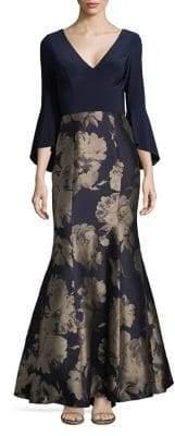 Xscape Evenings Bell-Sleeve Brocade Mermaid Gown