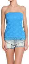 TheMogan Women's Strapless Sheer Back Stretch Lace Tube Top, M