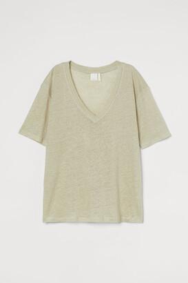 H&M Linen jersey T-shirt