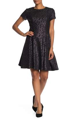 Robbie Bee Floral Metallic Fit & Flare Dress