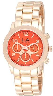 LA Time Womens Analogue Quartz Watch with Stainless Steel Gold Plated Strap LA.035L