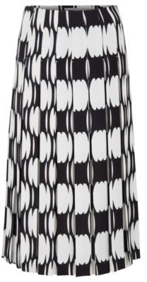 HUGO BOSS Plisse Midi Skirt With Collection Motif - Patterned