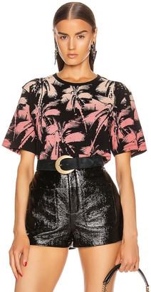 Saint Laurent Palms T Shirt in Black & Yellow & Rose | FWRD