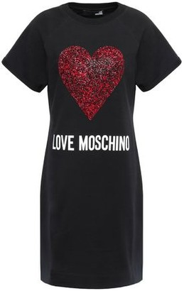 Love Moschino Embellished Printed French Cotton-blend Terry Mini Dress
