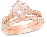 Zales Precious BrideTM 8.0mm Morganite and 1/3 CT. T.W. Diamond Vintage-Style Bridal Set in 14K Rose Gold